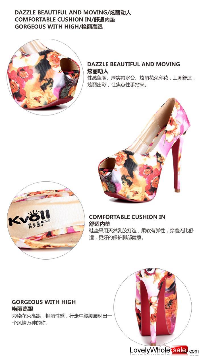 Kvoll shoes wholesale beautiful pattern women pumps Purple