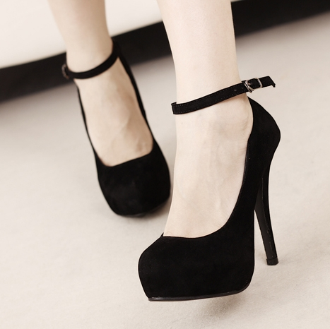 Suede Heels With Ankle Strap