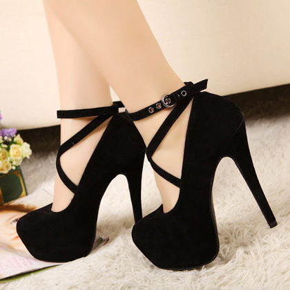 Black Closed Toe Heels With Ankle Strap - Qu Heel