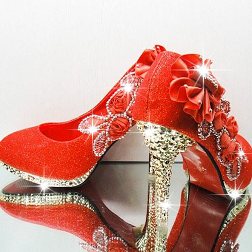 Sexy Diamond Embellished Round Closed Toe Super High Stiletto Red Suede Wedding Shoes Pumps