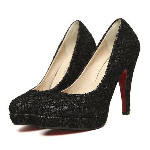 Fashion Round Closed Toe Super Stiletto High Black Lace Pumps