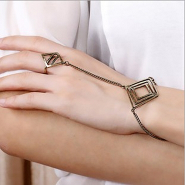 European Styles Bronzed-color Multi-layers Diamond Shaped Metal Bracelet