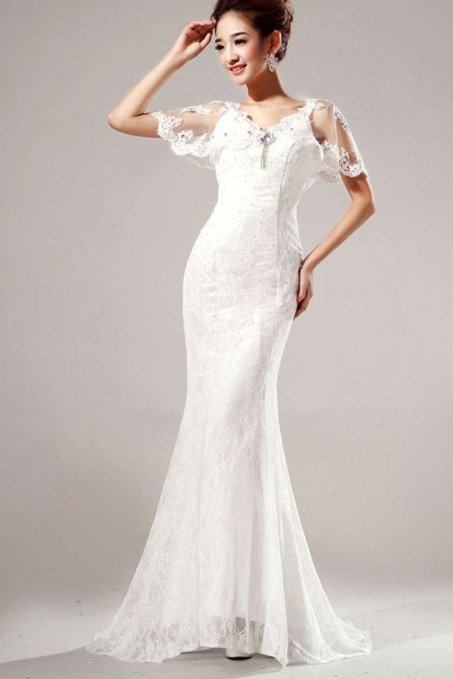 Elegant diamond embellished v neck short sleeves white for Diamond mermaid wedding dresses