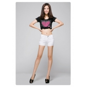 Skinny Zipper Fly Mid Solid White Cotton Shorts