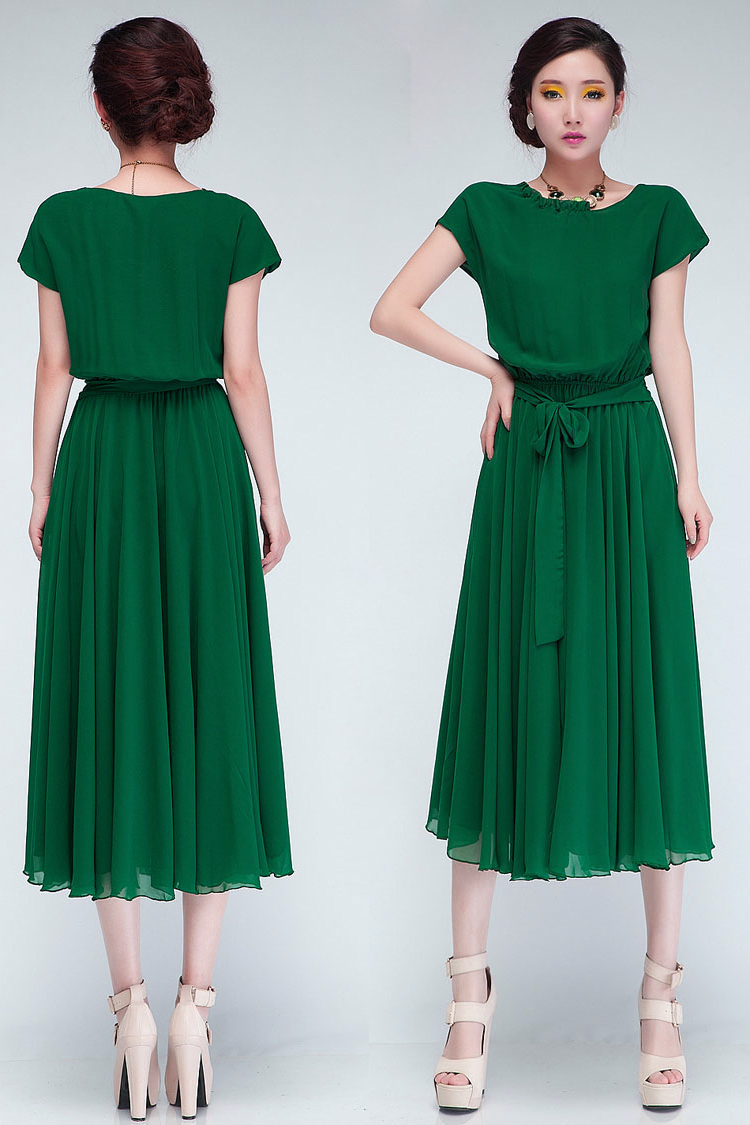 Fashion Pleated O Neck Short Sleeves Green Chiffon Mid Calf Dress