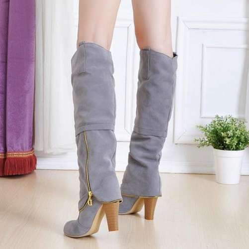 Winter Round Toe Chains Chunky High Heel Grey Suede Knee High ...