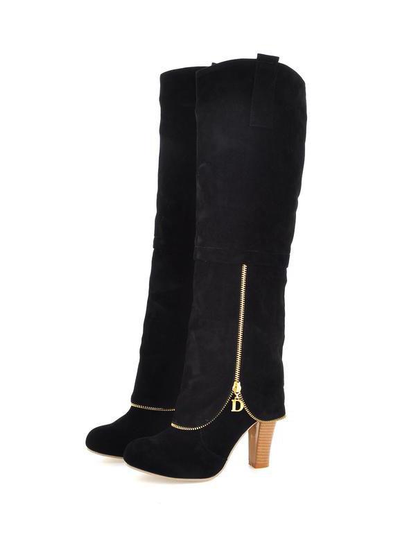 winter toe chains chunky high heel black suede knee