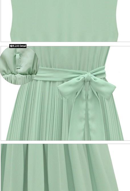 Lovely Fashion plissadas O Neck mangas Chiffon Mini Vestido