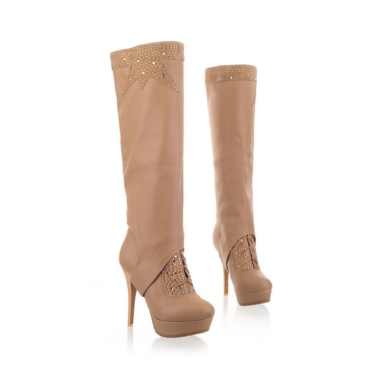 winter toe rhinestone lace up stiletto high heels