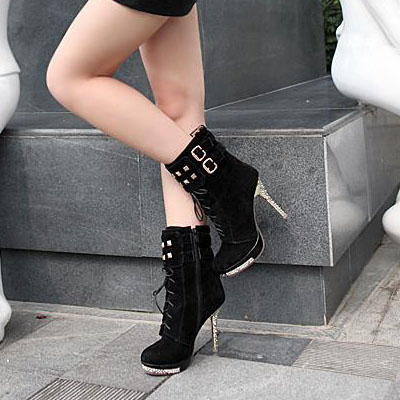 Spring Autumn Round Toe Lace Up Stiletto High Heels Black Suede Short Martens Boots