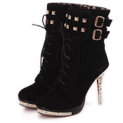 Frühling Herbst Round Toe Lace Up Stiletto High Heel