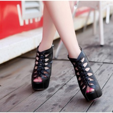 fashion round peep toe stiletto high heels black pu