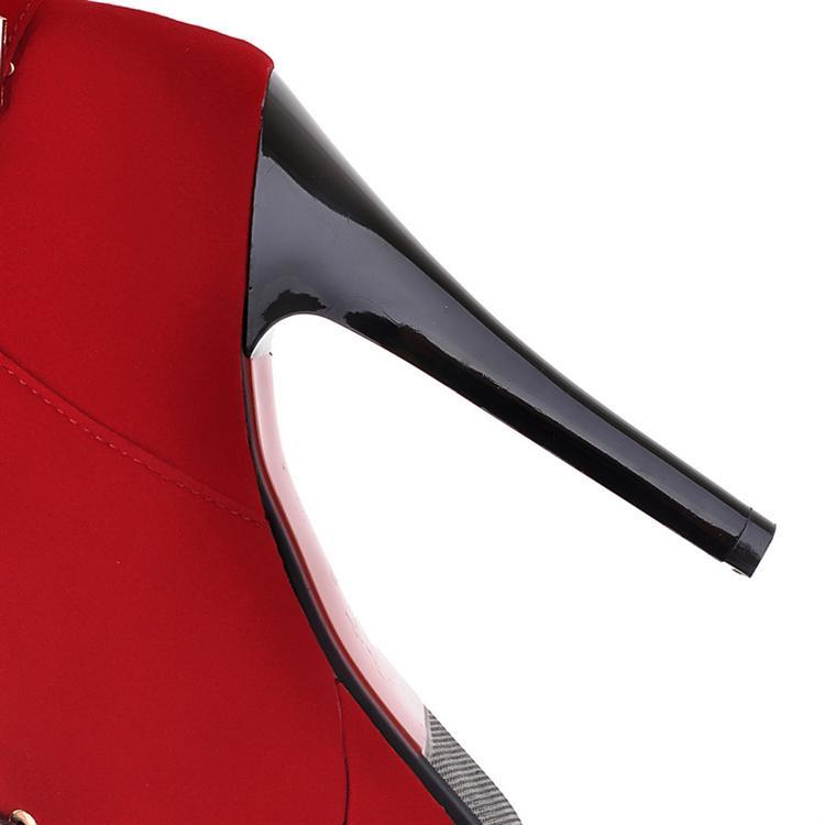 Зима Круглый Toe Stiletto Высокий каблук ботинки на шнурках неудачу Пряжка черный замша Martens