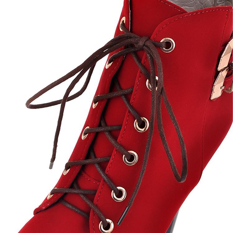 Winter Round Toe Stiletto High Heel Lace Up Fivela Curta Botas de camurça negra de camurça