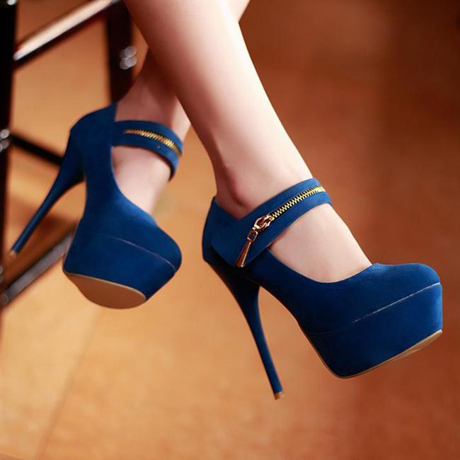 Fashion Round Closed Toe Zipper Design Stiletto High Heels Blue Leather Mary Jane Pumps Pumps