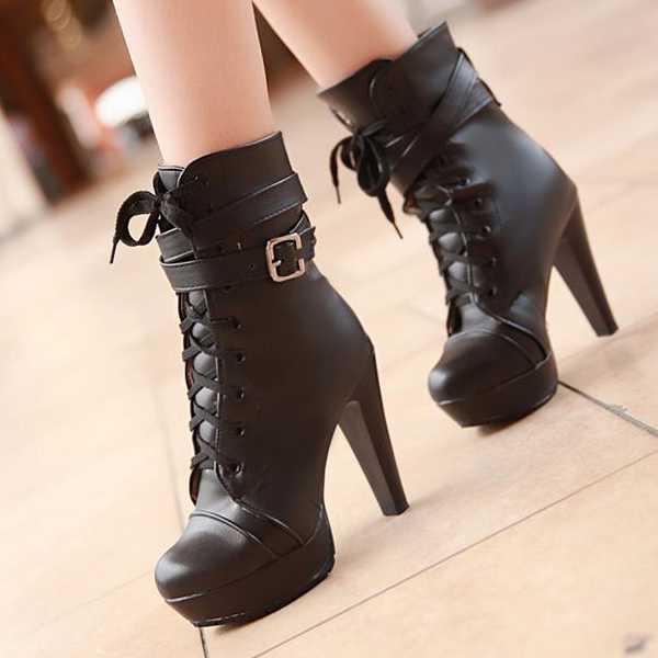 Cheap Lace Up Heel Boots
