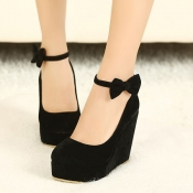 Fashion Round Closed Toe Super High Wedges Black S