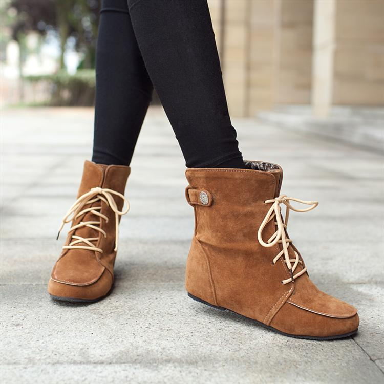 Winter Round Toe Wedge Mid Heel Lace Up Khaki Short Snow ...