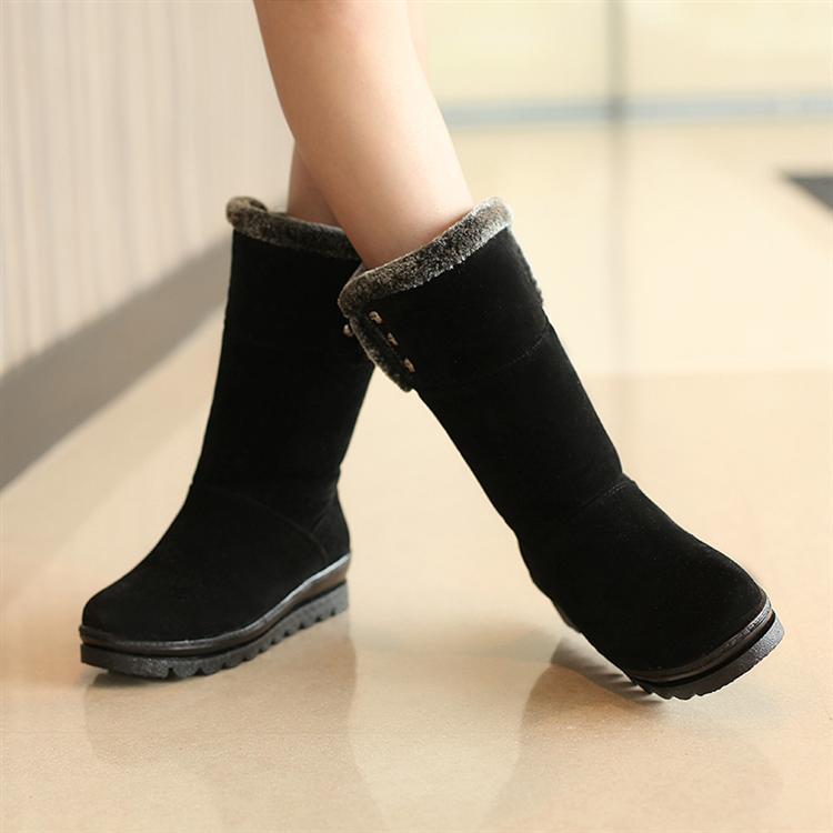 Winter Round Toe Flat Mid Heel Ankle Feathers Black Snow