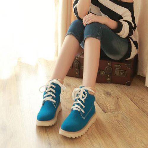 Spring Autumn Round Toe Flat Mid Heel Lace Up Ankle Blue
