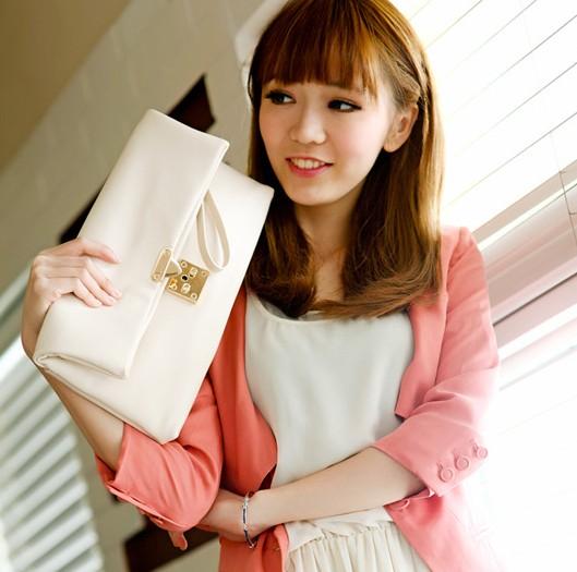 Fashion Solid Zipper White PU Clutches Bag