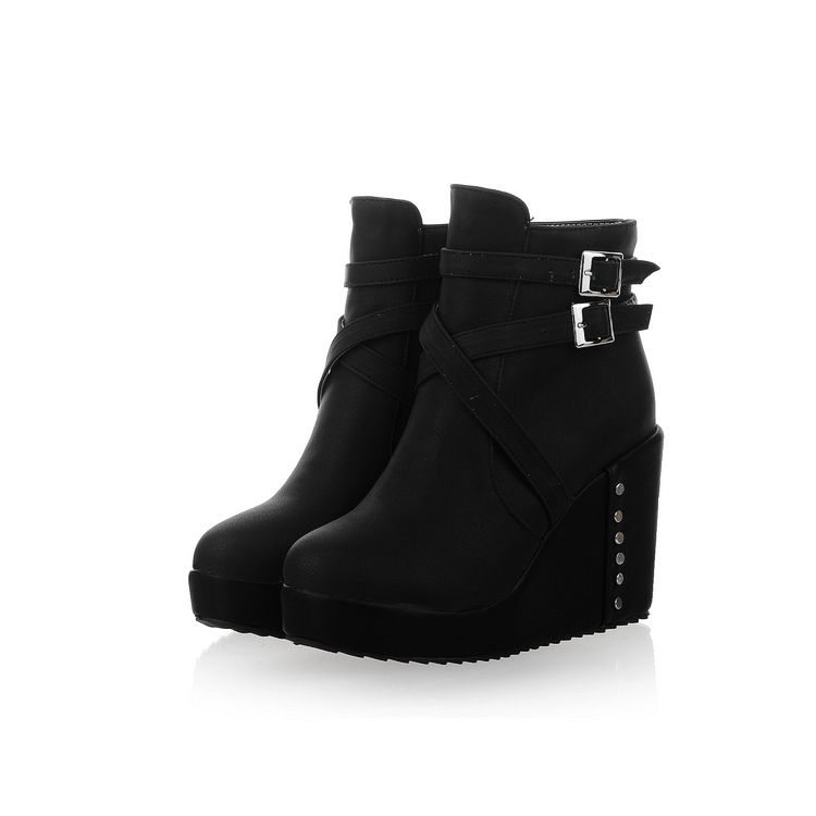 Fashion Round Toe Chunky High Heel Zipper Ankle Buckle Black PU Martens Boots