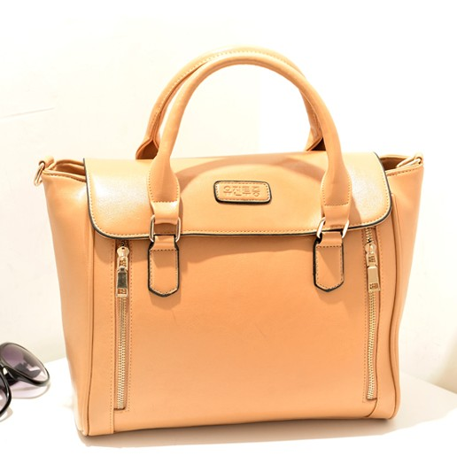 Women Fashion Solid Zipper Khaki PU Shoulder Bag