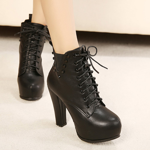 winter toe chunky high heel lace up ankle rivets