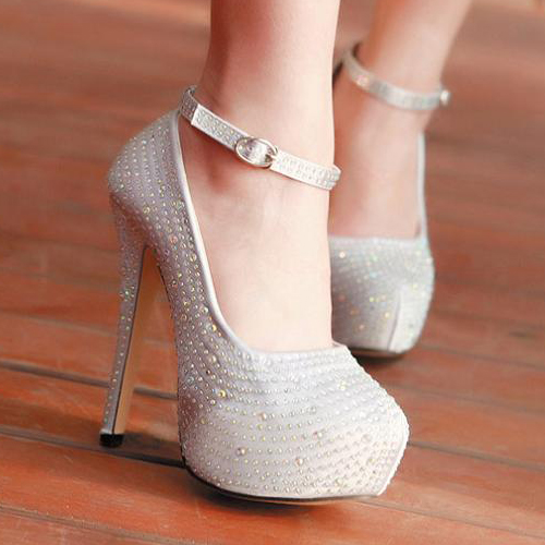 Fashion Round Toe Closed Stiletto High Heel Ankle Strap Silver ...