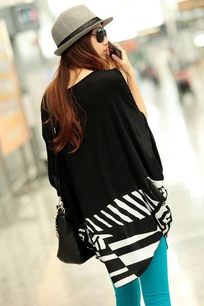 New Style O Neck Half Sleeve Striped Black Cotton T-shirt