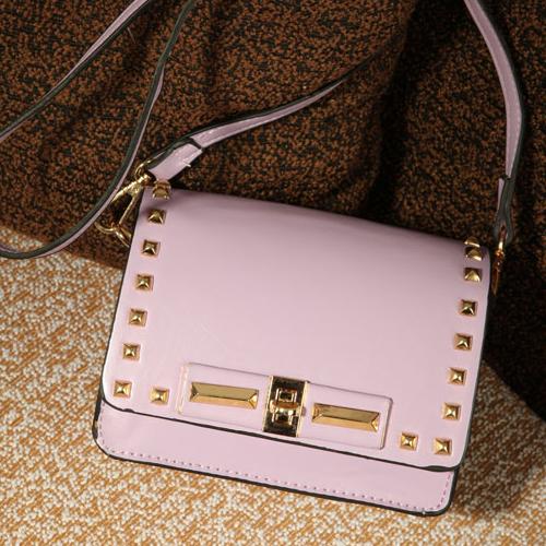 Fashion Solid Zipper Purple PU Shoulder Bag