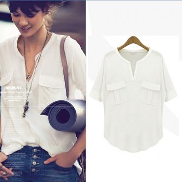 Fashion Loose V Neck Half Sleeve Solid Light White Cotton Shirt