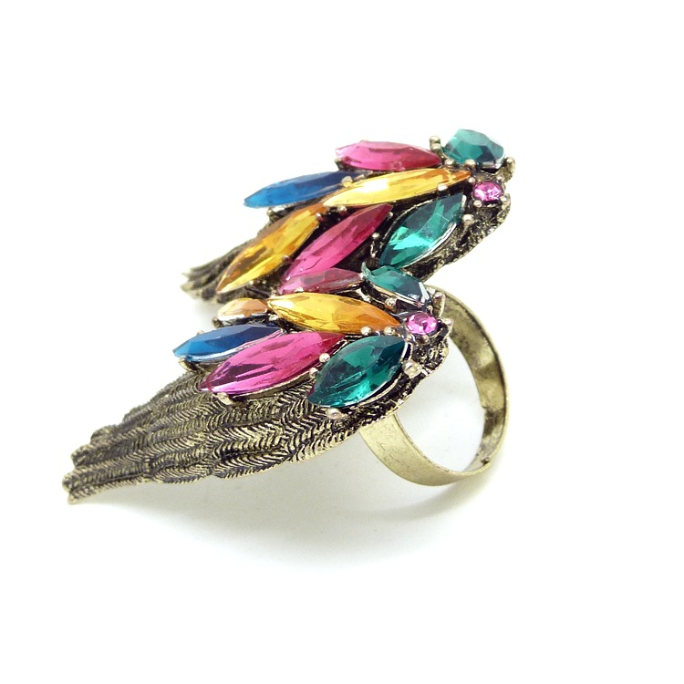 Fashion Gemstone Wings Metal Colorful Ring