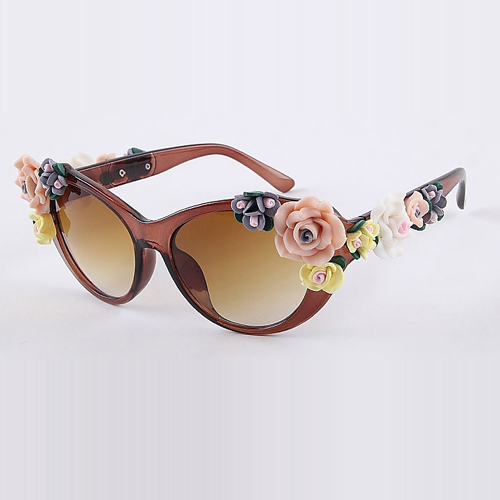 New Style Woman Frame Surface Flower Dark Brown  Sunglasses