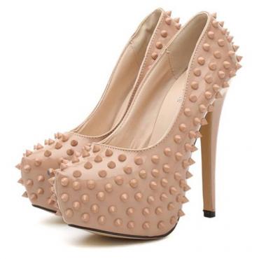 Fashion Round Toe Closed Stiletto High Heel Basic Apricot PU Pumps