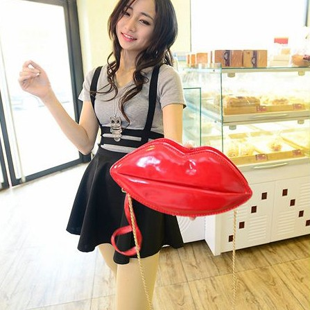Fashion Women Solid Zipper Red PU Shoulder Bag