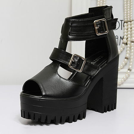 Fashion Chunky High Heel T Strap  Black PU Sandals