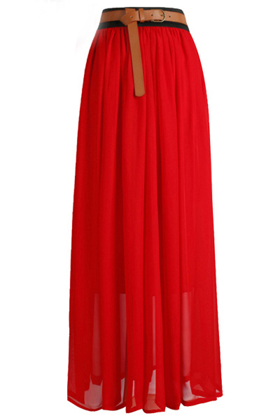 Fashion Solid A Line Ankle Length Red Chiffon Skirt