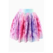 Fashion Pleats Designed Bowknot Embellished Patchwork Print Multi-colored Cotton Blend A Line Mini Skirt