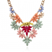 Fashion Colorful Flowers Layered Metal Necklace