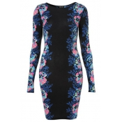 Fashion O Neck Long Sleeves Floral Print Sheath Mini Pencil Dress