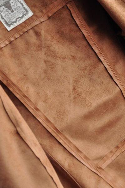 New Style Turndown Collar Long Sleeves Zipper Designed Pockets Brown PU Regular Leather Coat