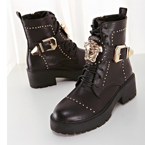 Cheap Winter Round Toe Lace Up Buckle Design Chunky Mid Heel Black PU Mid Calf Martens Boots