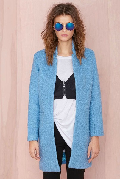 Cheap Mandarin Collar Long Sleeves Pockets Design Blue Long Wool Coat