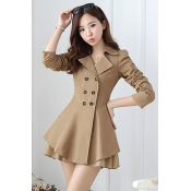 Cheap Casual Turndown Collar Long Sleeves Double-breasted Khaki Long Trench Coat