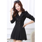 Cheap Casual Turndown Collar Long Sleeves Double-breasted Black Long Trench Coat