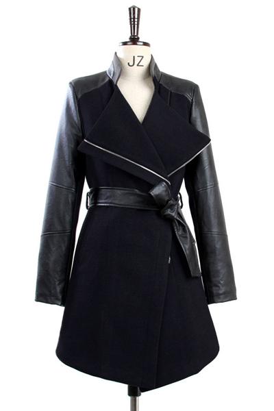 Fashion Turndown Collar Long Sleeves Zipper Design PU Patchwork Black Long Wool Coat