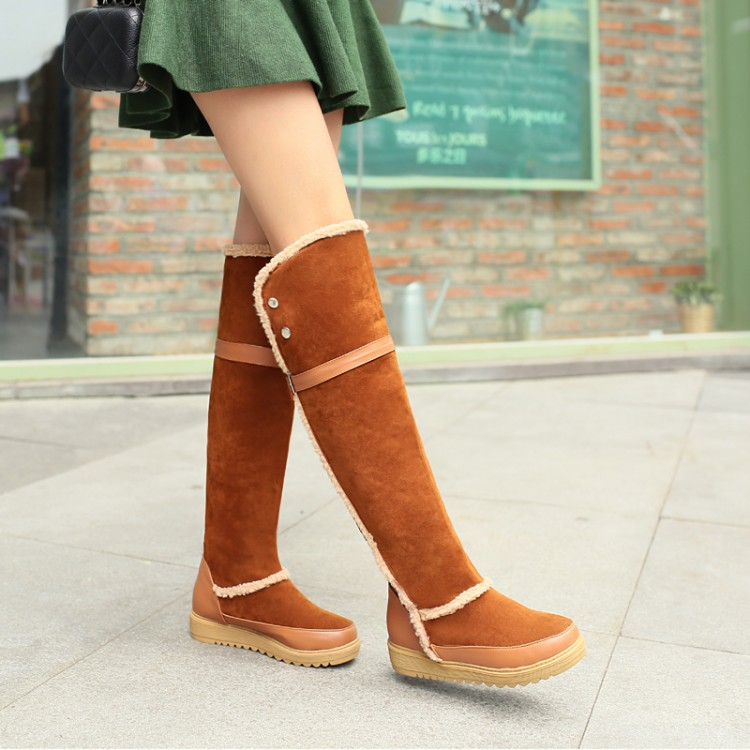 Cheap Winter Fashion Round Toe Patchwork Hook Loop Flat