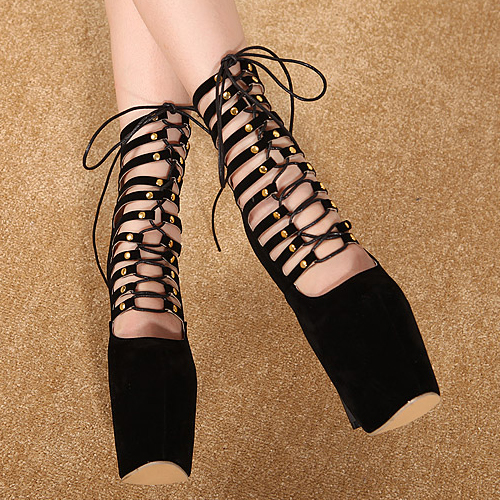 Cheap Fashion Round Closed Toe Strappy Hollow-out Lace-up Stiletto Super High Heel Black PU Basic Pumps