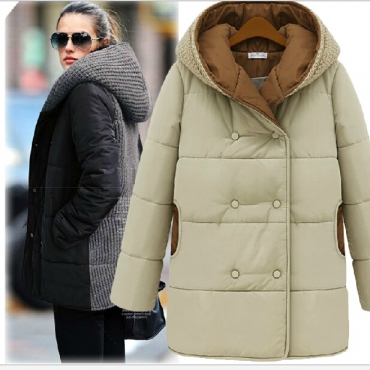 Cheap New Style Double-breasted Patchwork Apricot Regular Hooded Parka